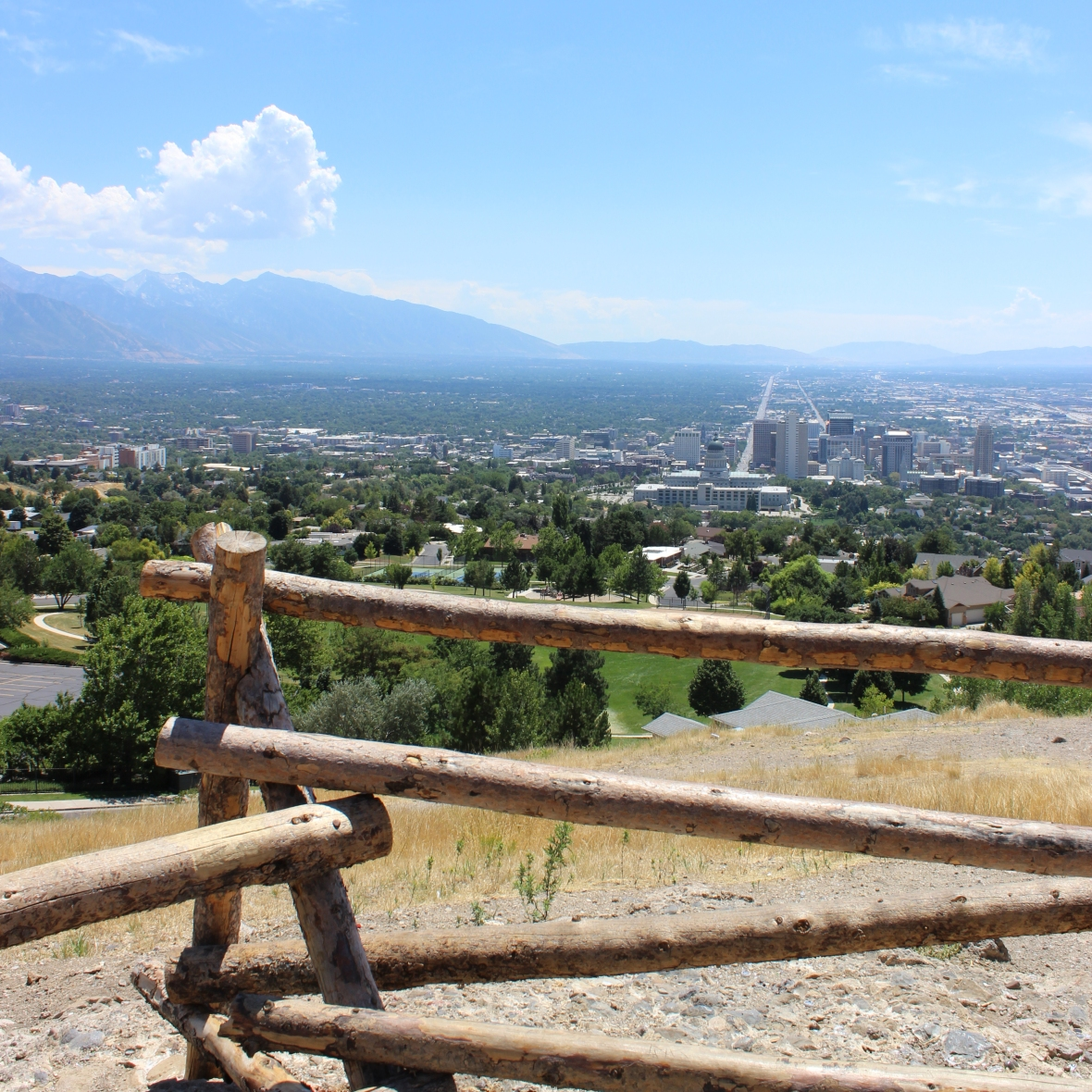 Views of Salt Lake City from Ensign Peak Trailhead