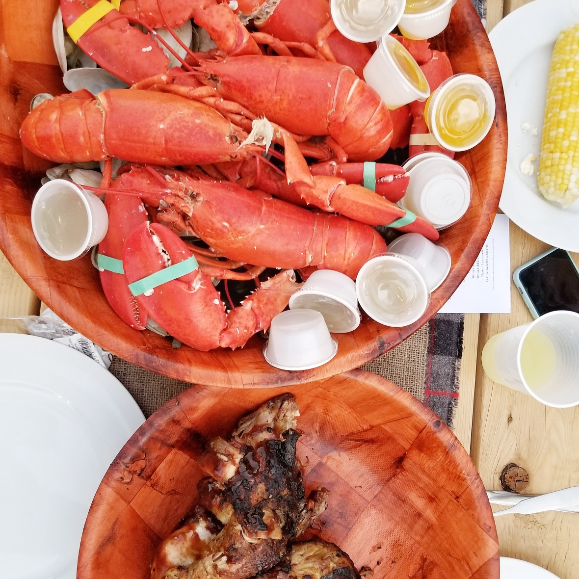 Maine Lobster, mussels, oysters, chicken and steak