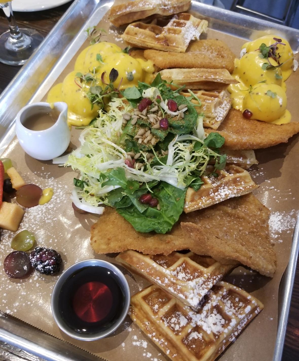 Schnitzel and Waffle Brunch Platter