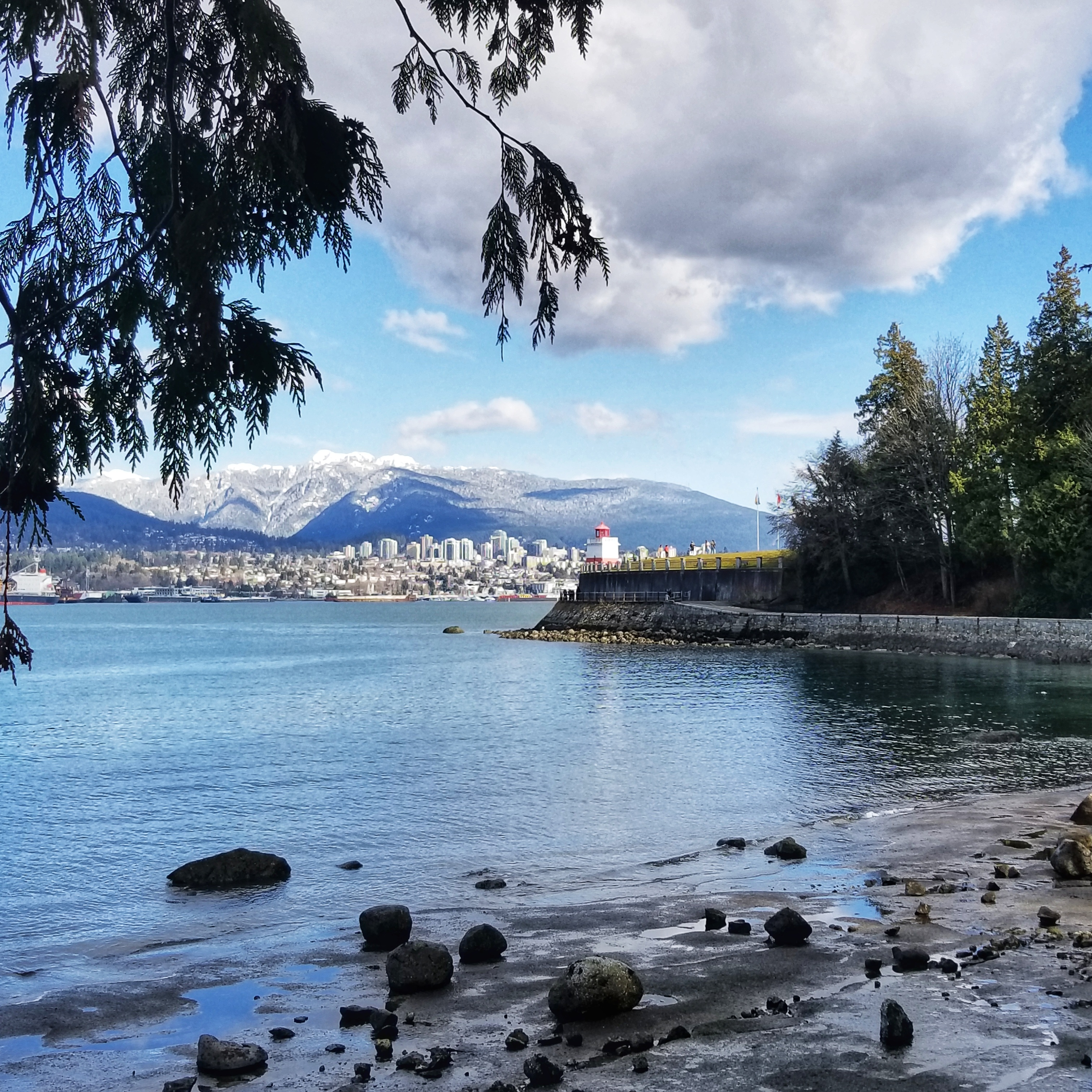 Stanley Park with views of the lighthouse and mountains